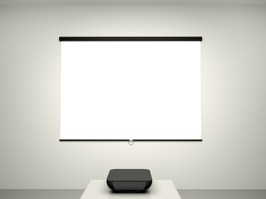 3D Illustration Of The Presentation Screen And A Projector For Conference .